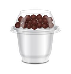 Round glossy plastic pot for sour cream yogurt vector
