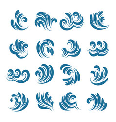 sea wave element set vector image