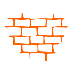 Seam brick wall texture pattern orange vector