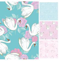 Seamless pattern flock of swans swim all vector