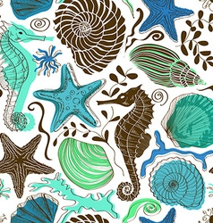 Seamless pattern of sea animals vector image