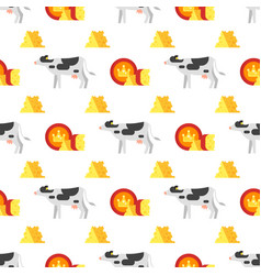 Seamless pattern with cheese and cow vector