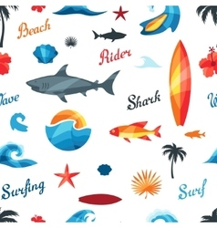 Seamless pattern with surfing design elements and vector