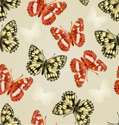 Seamless texture two butterflies silver background vector image