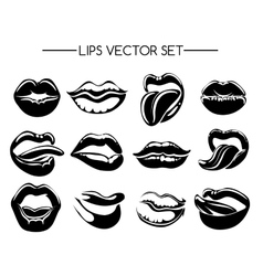 Set of black and white lips vector image