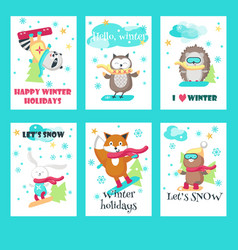 set of cards with cute snowboarding animals vector image