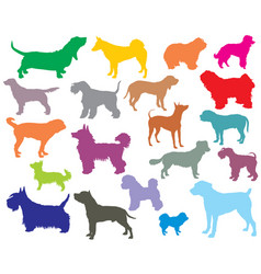 Set of colorful dogs silhouettes-5 vector