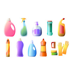 set of detergent bottles containers cleaning vector image
