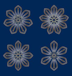 Set of simple round floral golden mandala on blue vector
