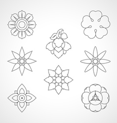 Set Thai flower symbol vector image