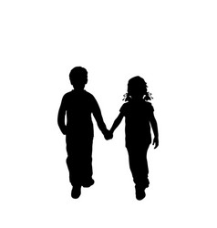 silhouettes walking boy and girl from back vector image