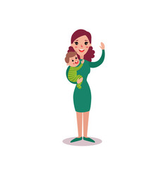 smiling mother with baby in her arms vector image