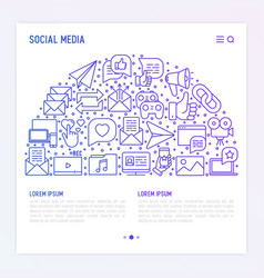 Social media concept in half circle vector