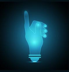 technology future point hand light bulb vector image