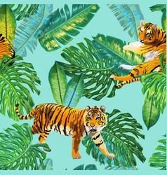 Tigers in tropical palm leaves seamless pattern vector