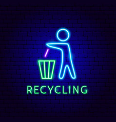 trash recycling neon label vector image