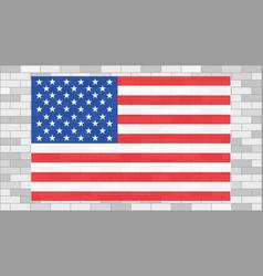 usa flag on grey brick wall vector image