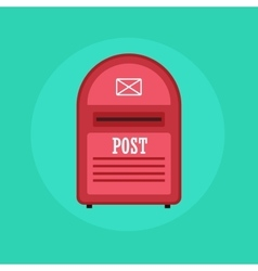Vintage red mail box post icon flat design vector