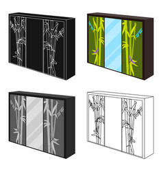 Wardrobe with mirror and green doors the place vector