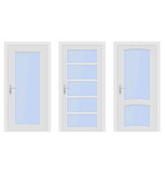 White doors interior designs with glass elements vector