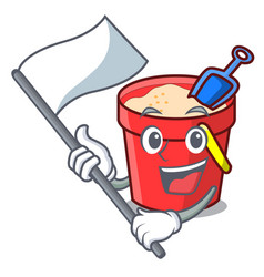With flag sand bucket mascot cartoon vector