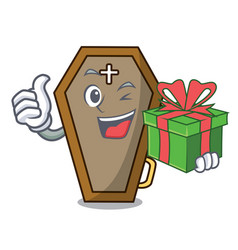 With gift coffin mascot cartoon style vector
