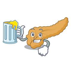 With juice pancreas mascot cartoon style vector