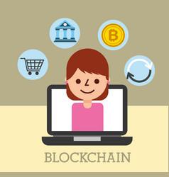 Woman in laptop trade bitcoin cloud data shopping vector