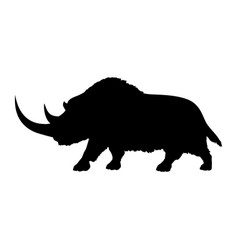 Woolly rhinoceros silhouette extinct mammalian vector