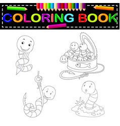 Worm coloring book vector