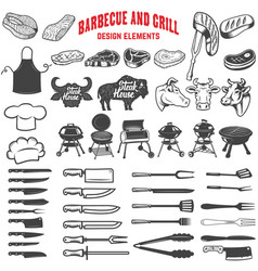 barbecue and grill design elements for logo label vector image vector image