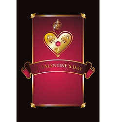 Golden Valentine background with diamond heart vector image vector image