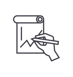 hand drawing graph concept thin line icon vector image