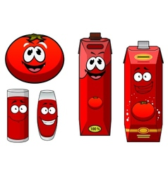 Happy natural tomato juice cartoon characters vector image vector image