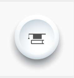 Mortarboard with book icon on a white 3d button vector