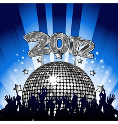 new year party with crowd dancing in front of silv vector image vector image