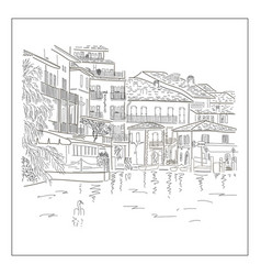 old europian town on the lake hand drawn sketch vector image