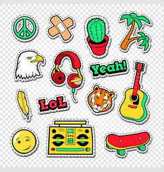 teen style stickers badges and patches vector image