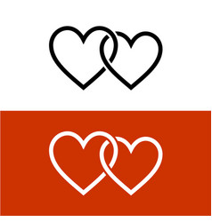 two line style hearts together linked love symbol vector image