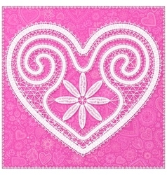 White lace heart on pink ornate background vector image vector image