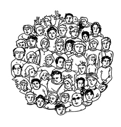 circle shaped peoples characters vector image