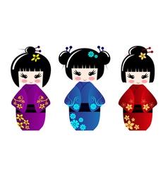 Cute kokeshi dolls vector image vector image
