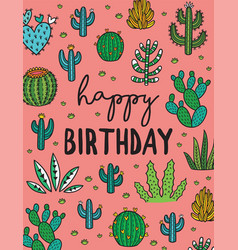 Happy birthday exotic print with hand drawn vector