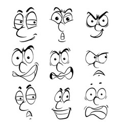 nine facial expressions on white background vector image vector image