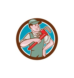 Plumber Pointing Monkey Wrench Circle Cartoon vector image vector image