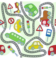 Seamless pattern with cars and traffic signs vector