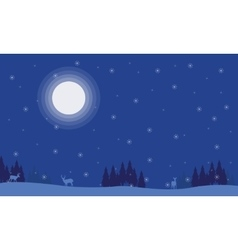 Silhouette of deer spruce with moon scenery vector image