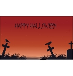 Silhouette of Halloween crow and tomb vector image vector image