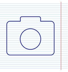 digital camera sign navy line icon on vector image vector image