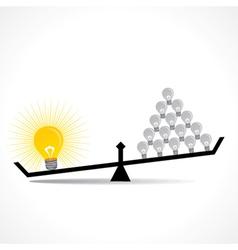 many small idea compare with big idea concept vector image